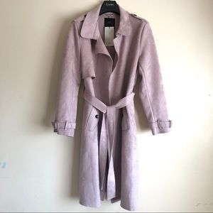 Zara Dusty Rose Faux Suede Belted Trench Coat XL